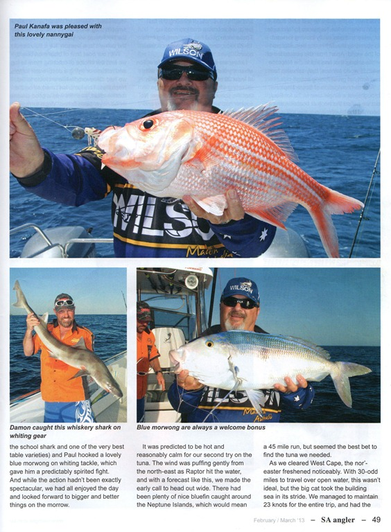Sa angler with reelaction charters at marion bay for Reel action fishing charters